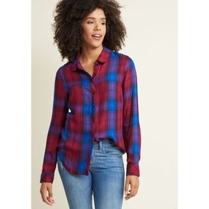 Modcloth Plaid Longsleeve Button Up Shirt Top